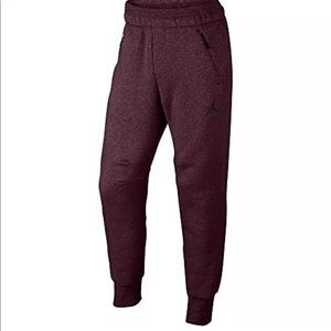 Jordan Icon Fleece Cuffed Burgundy Sweatpants